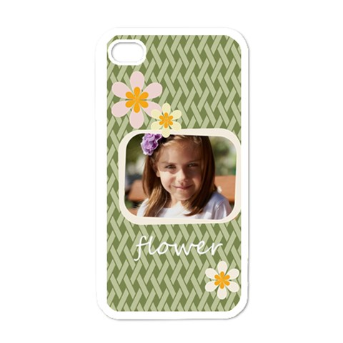 Flower , Kids, Happy, Fun, Green By Joely   Apple Iphone 4 Case (white)   A6fm68ay21hd   Www Artscow Com Front