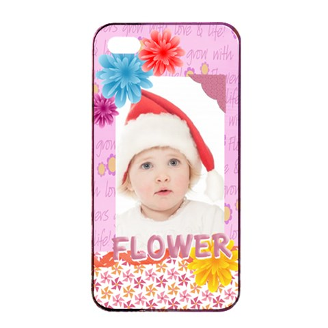 Flower, Kids , Happy By Betty   Apple Iphone 4/4s Seamless Case (black)   Nlnyoc9dkive   Www Artscow Com Front