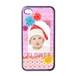 flower, kids , happy - Apple iPhone 4 Case (Black)