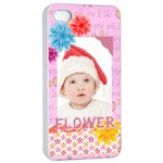 flower, kids , happy - Apple iPhone 4/4s Seamless Case (White)