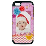 flower, kids , happy - Apple iPhone 5 Hardshell Case (PC+Silicone)