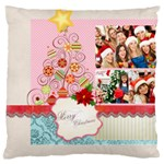 merry christmas, new year, happy, family, kids - Large Cushion Case (Two Sides)