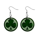 Leather-Look Irish Clover 1  Button Earrings