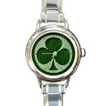 Leather-Look Irish Clover Round Italian Charm Watch