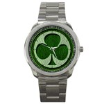 Leather-Look Irish Clover Sport Metal Watch