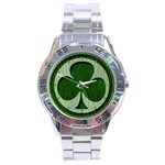 Leather-Look Irish Clover Stainless Steel Analogue Men's Watch