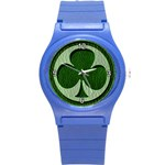 Leather-Look Irish Clover Round Plastic Sport Watch Small