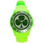 Leather-Look Irish Clover Round Plastic Sport Watch Large