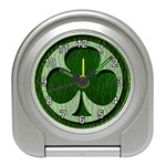 Leather-Look Irish Clover Travel Alarm Clock