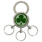 Leather-Look Irish Clover 3-Ring Key Chain