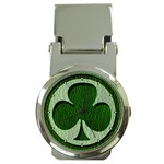Leather-Look Irish Clover Money Clip Watch