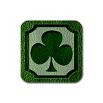 Leather-Look Irish Clover Rubber Square Coaster (4 pack)
