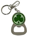 Leather-Look Irish Clover Bottle Opener Key Chain