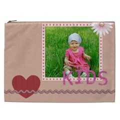 Flower , Kids, Happy, Fun, Green By Jacob   Cosmetic Bag (xxl)   42g42gz8wc0p   Www Artscow Com Front