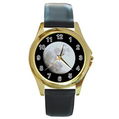 Moon Black Leather Gold Rim Watch (Round) by LigerTees