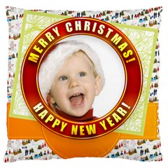 Merry Christmas, Xmas, Happy New Year  By Man   Large Cushion Case (two Sides)   0xe2ry5b8lvs   Www Artscow Com Back