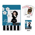 flower , kids, happy, fun, blue - Playing Cards Single Design