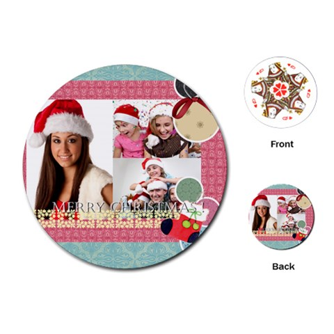 Merry Christmas, Happy New Year, Xmas By Jo Jo   Playing Cards (round)   Nk2aa5zp5tao   Www Artscow Com Front