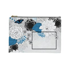 Blue Flowers Bag By One Of A Kind Design Studio   Cosmetic Bag (large)   2kowvwzch7lj   Www Artscow Com Front