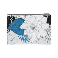 Blue Flowers Bag By One Of A Kind Design Studio   Cosmetic Bag (large)   2kowvwzch7lj   Www Artscow Com Back
