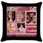 love, kids, memory, happy, fun  - Throw Pillow Case (Black)