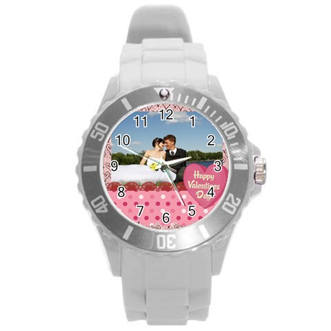 Love,memory, Happy, Fun  By Jacob   Round Plastic Sport Watch (l)   Jp8h028c9x5s   Www Artscow Com Front