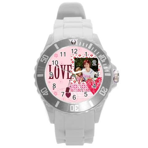 Love,memory, Happy, Fun  By Jacob   Round Plastic Sport Watch (l)   Zuk15ajsjqko   Www Artscow Com Front