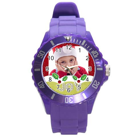 Merry Christmas, Happy New Year, Xmas By Jacob   Round Plastic Sport Watch (l)   Ogtgjykavnqu   Www Artscow Com Front