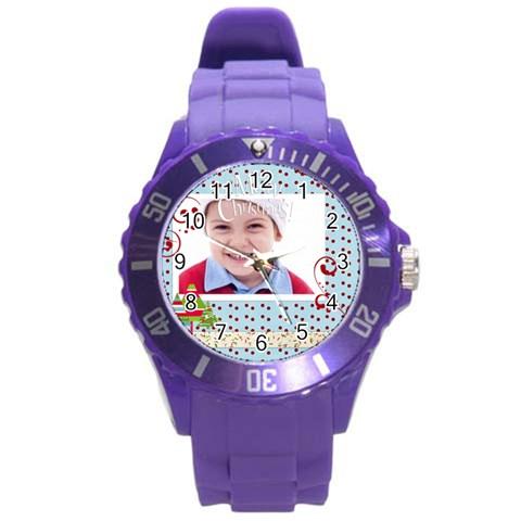 Kids, Fun, Child, Play, Happy By Jacob   Round Plastic Sport Watch (l)   Jk93qm55ug71   Www Artscow Com Front