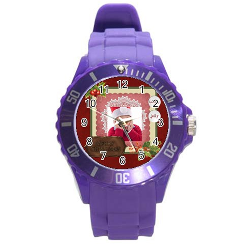 Merry Christmas By Jacob   Round Plastic Sport Watch (l)   P0aglxk89rjx   Www Artscow Com Front