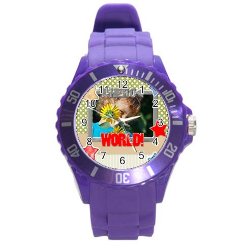 Kids, Love, Family, Happy, Play, Fun By Jacob   Round Plastic Sport Watch (l)   1nr7o0stuo6k   Www Artscow Com Front