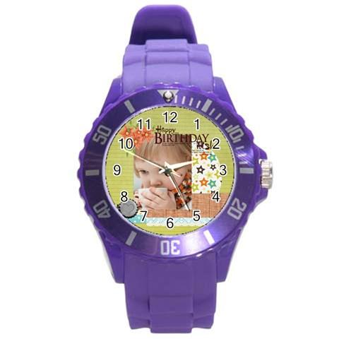 Happy Birthday By Jacob   Round Plastic Sport Watch (l)   Ukj8nsrcf5fd   Www Artscow Com Front