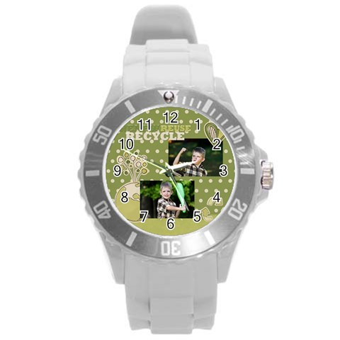 Green Power By Angena Jolin   Round Plastic Sport Watch (l)   Oitljkavo404   Www Artscow Com Front