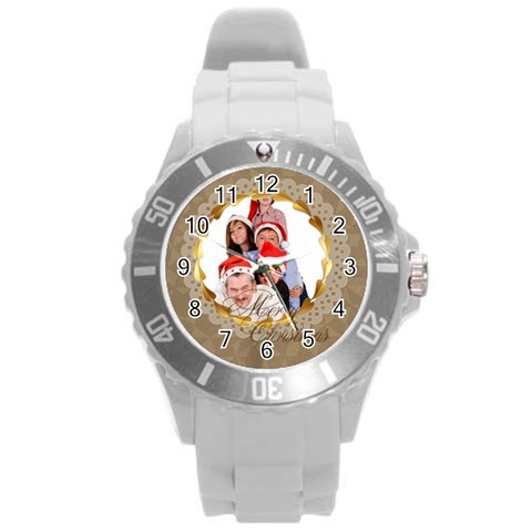 Merry Christmas, New Year, Happy, Family, Kids By Angena Jolin   Round Plastic Sport Watch (l)   Sd14jzq0x6oz   Www Artscow Com Front