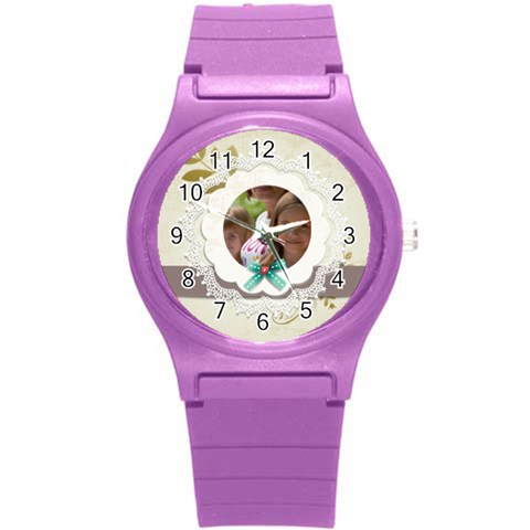 Love, Kids, Happy, Fun, Family, Holiday By Jacob   Round Plastic Sport Watch (s)   2llev7zxlyop   Www Artscow Com Front