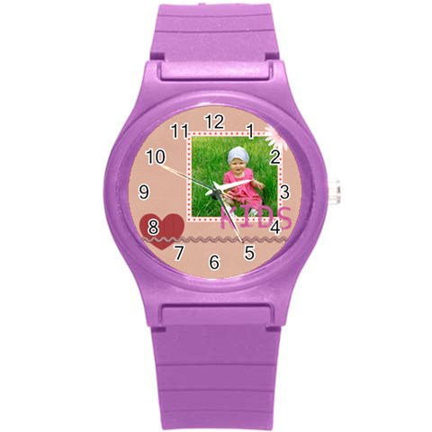 Love, Kids, Happy, Fun, Family, Holiday By Jacob   Round Plastic Sport Watch (s)   0ub66ziujs6e   Www Artscow Com Front