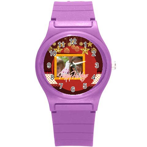 Love, Kids, Happy, Fun, Family, Holiday By Jacob   Round Plastic Sport Watch (s)   Xmqhdxx95xye   Www Artscow Com Front