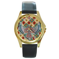 South West Leather Look Black Leather Gold Rim Watch (Round) by artattack4all