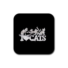Catz 4 Pack Rubber Drinks Coaster (Square) by artattack4all
