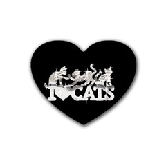 Catz 4 Pack Rubber Drinks Coaster (Heart) by artattack4all