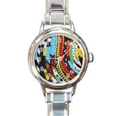 Multi Colored Beaded Background Classic Elegant Ladies Watch (round) by artattack4all