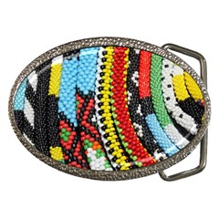 Multi Colored Beaded Background Belt Buckle (oval) by artattack4all