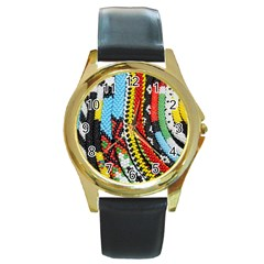 Multi Colored Beaded Background Black Leather Gold Rim Watch (round) by artattack4all