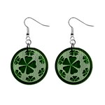 Leather-Look Irish Clover Ball 1  Button Earrings