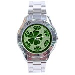 Leather-Look Irish Clover Ball Stainless Steel Analogue Men's Watch