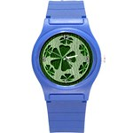 Leather-Look Irish Clover Ball Round Plastic Sport Watch Small