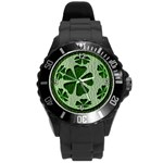 Leather-Look Irish Clover Ball Round Plastic Sport Watch Large