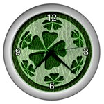 Leather-Look Irish Clover Ball Wall Clock (Silver)
