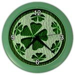 Leather-Look Irish Clover Ball Color Wall Clock
