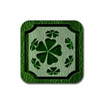 Leather-Look Irish Clover Ball Rubber Square Coaster (4 pack)